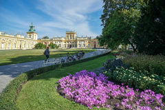 WARSAW, POLAND/EUROPE - SEPTEMBER 17 : Approach to Wilanow Palace in Warsaw Poland on September 17, 2014. Unidentified people. stock photos