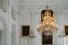 WARSAW, POLAND/EUROPE - SEPTEMBER 17 : Chandelier at the Wilanow Palace in Warsaw Poland on September 17, 2014 royalty free stock photography