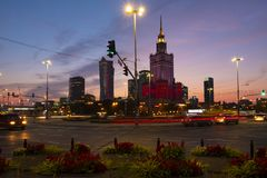 Warsaw, Poland - Evening panoramic view of city center with Cult Stock Photography