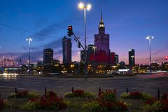 Warsaw, Poland - Evening panoramic view of city center with Cult Royalty Free Stock Image