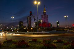 Warsaw, Poland - Evening panoramic view of city center with Cult Stock Images