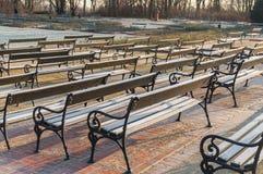 Warsaw, Poland Famous Ujazdow park and lot of bench (Park Ujazdowski). Close stock photos