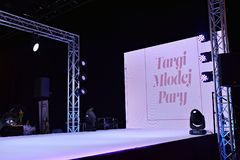 Fashion show Wedding fair. Warsaw,Poland. 18 February 2018. Fashion show Wedding fair. Targi mlodej pary. Weeding show Royalty Free Stock Photo