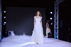 Fashion show Wedding fair. Warsaw,Poland. 18 February 2018. Fashion show Wedding fair. Targi mlodej pary. Weeding show Stock Photography