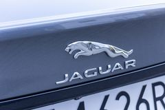 WARSAW, POLAND - FEBRUARY 6, 2019: Jaguar metallic logo sign on the silver car. stock image