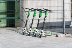 Lime Scooters lined up at Centrum Nauki Kopernik metro station royalty free stock photo