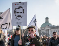 Warsaw, Poland, february 27, 2016; March of support for Lech Walesa. Royalty Free Stock Images