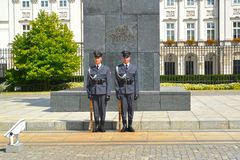 WARSAW, POLAND. Guard of honor at the bottom of a monument to the prince Jozef Ponyatovsky Stock Image