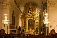 Free WARSAW, POLAND - JANUARY 02, 2016: Interior Of The Roman Catholic Church Of The Holy Cross In Christmas Decorations. Stock Images - 103705724