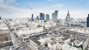 Aerial drone view from above of city center skyline. WARSAW, POLAND - JANUARY 5, 2018. Aerial drone view from above of city center skyline royalty free stock photo