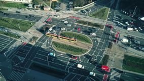 WARSAW, POLAND - JANUARY 8, 2018. Aerial view of major streets intersection on a sunny day. WARSAW, POLAND - JANUARY 8, 2018. Aerial view of major streets royalty free stock images