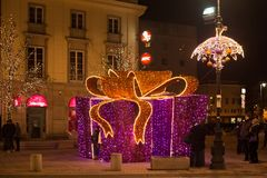 WARSAW, POLAND - JANUARY 02, 2016: Christmas decorations in the Krakow suburb street in Warsaw. The street is one of the best known and most prestigious streets Royalty Free Stock Photo
