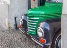 WARSAW, POLAND - JANUARY 04, 2016 Classic Chevrolet Pickup truck in Podwale 25 street in Warsaw Old Town loaded with a lot beer. Barrels Royalty Free Stock Image