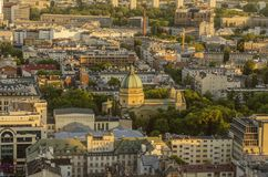 WARSAW, POLAND - JMAY 22, 2018. Aerial drone view from above of Royalty Free Stock Images
