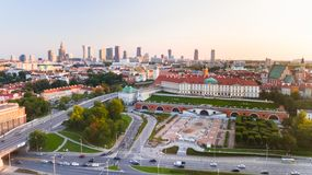 WARSAW, Aerial drone view from above of city center skyline and old town with castle. WARSAW, POLAND - JULY 21, 2018. Aerial drone view from above of city center royalty free stock image