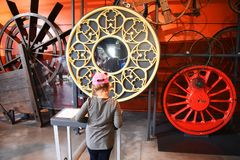 Warsaw, Poland-July 14, 2018: The Copernican Science Center. Developing interactive children`s museum. Warsaw, Poland-July 14, 2018: The Copernican Science stock photography