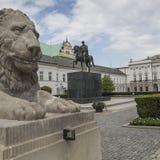 WARSAW, POLAND - JULY 09, 2015: Lion and Prince Jozef Poniatowski Stock Photo