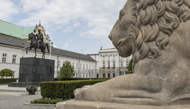 WARSAW, POLAND - JULY 09, 2015: Lion and Prince Jozef Poniatowski Stock Images