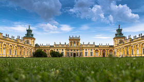 WARSAW, POLAND, July 1, 2016: The royal Wilanow Palace in Warsaw, Poland. View on the main facade. Stock Photo