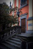 WARSAW, POLAND, July 1, 2016: Stone staircase to the door of the old church in Warsaw Stock Image