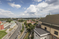 Warsaw, Poland - JULY 09, 2015 View from the observation deck of the Palace of Culture and Science Royalty Free Stock Photo