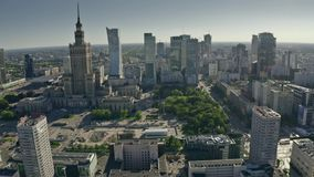 Warsaw, Poland - June 5, 2019. Aerial shot of the city centre on a sunny summer day stock footage