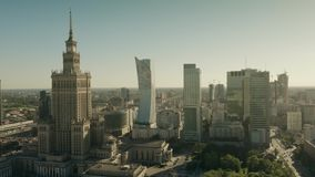 Warsaw, Poland - June 5, 2019. Aerial shot of the city centre stock video