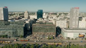 WARSAW, POLAND - JUNE 5, 2019. Aerial view of Marszalkowska street in city centre stock video