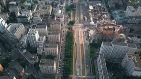 WARSAW, POLAND - JUNE 27, 2018. Aerial view of city streets and urban construction site. WARSAW, POLAND - JUNE 27, 2018. Aerial view of city streets and stock footage