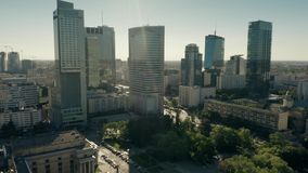 WARSAW, POLAND - JUNE 5, 2019. Aerial view of skyscrapers of business district in city centre stock video