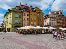 Warsaw, Poland. 3 June 2016 - Colorful Old Town in , on a beautiful sunny day with people visiting Royalty Free Stock Photos