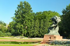 Frederic Chopin monument in Royal Baths Park in Warsaw, Poland royalty free stock image