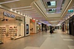 Interior of modern shopping center Galeria Mlociny. Warsaw, Poland. 18 June 2019. Interior of modern shopping center Galeria Mlociny stock photography