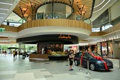 Interior of modern shopping center Galeria Mlociny. stock images