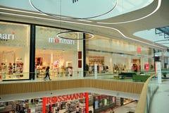 Interior of modern shopping center Galeria Mlociny. Warsaw, Poland. 18 June 2019. Interior of modern shopping center Galeria Mlociny royalty free stock image