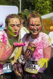 The Color Run Warsaw 2019. WARSAW, POLAND - June 1, 2019. Participants coated in paint celebrate healthiness, peace, individuality at unique colorful 5 km run stock photos