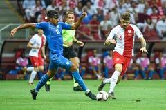 In action Dor Peretz L and Mateusz Klich. WARSAW, POLAND - JUNE 10, 2019: Qualifications Euro 2020  match Poland - Israel 4:0. In action Dor Peretz L and Mateusz stock images