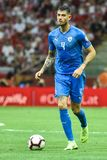 In action Nir Bitton. WARSAW, POLAND - JUNE 10, 2019: Qualifications Euro 2020  match Poland - Israel 4:0. In action Nir Bitton stock photography