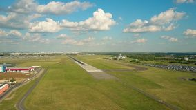 WARSAW, POLAND - JUNE 19, 2017. Aerial shot of LOT commercial airliner taking off and leaving Chopin international. WARSAW, POLAND - JUNE 19, 2017. Scenic aerial stock footage
