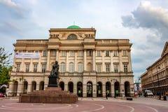 WARSAW, POLAND - JUNE 12, 2012: Statue of Copernicus in Warsaw. WARSAW, POLAND - JUNE, 2012: Statue of famous astronomer Nicolaus Copernicus stock image