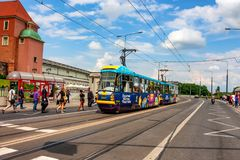WARSAW, POLAND - JUNE, 2012: Tram with Euro 2012. WARSAW, POLAND - JUNE, 2012: View of public tram with Euro 2012 symbols on it Royalty Free Stock Photo