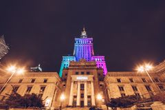 WARSAW, POLAND - Mar, 2018 Entrance of Kinoteka at The Palace of Science and Culture in the city center at night. WARSAW, POLAND - Mar, 2018 Entrance of stock photos