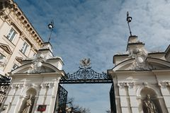WARSAW, POLAND - March 2018 - Entrance to the University of Warsaw, Poland. stock photo