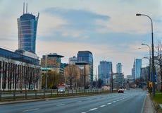 Warsaw, Poland - March 28, 2016: Kasprzaka street, Office building Warsaw Spire under construction. Royalty Free Stock Image