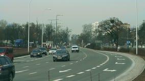 WARSAW, POLAND - MARCH 5, 2018. Major city street traffic. WARSAW, POLAND - MARCH 5 2018 City street traffic stock footage