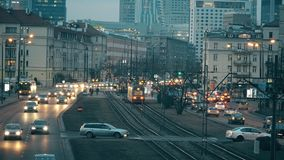 WARSAW, POLAND - MARCH 12, 2018. Major city street traffic in the evening Royalty Free Stock Images