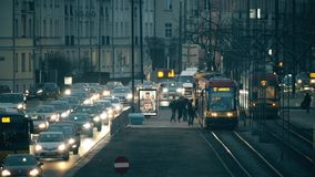 WARSAW, POLAND - MARCH 12, 2018. Major city street traffic and trap stop in the evening Stock Image