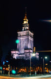 Warsaw, Poland - March 28, 2016: The Palace of Culture and Science. Polish: Palac Kultury i Nauki, also abbreviated PKiN Royalty Free Stock Photos