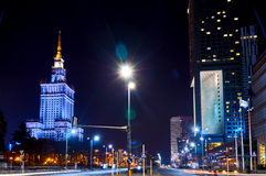 Warsaw, Poland - March 28, 2016: The Palace of Culture and Science. Polish: Palac Kultury i Nauki, also abbreviated PKiN Stock Photography