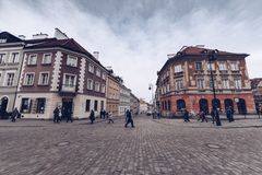 Warsaw Poland - March 2018 peoples along ways of Warsaw during winter season stock photos